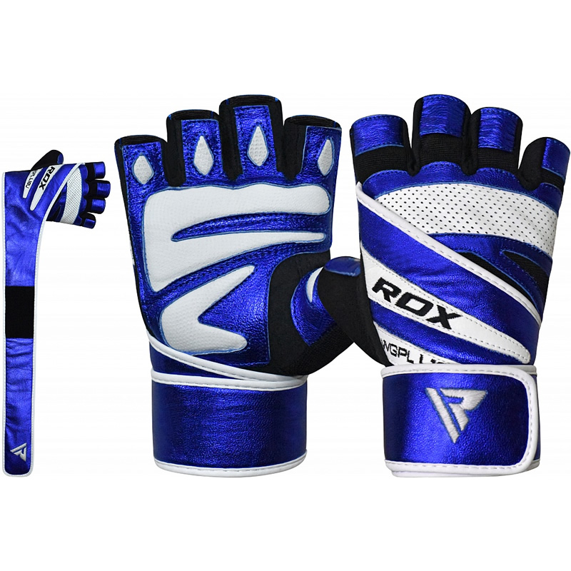 RDX L10 Medium Blue Leather Gym Gloves