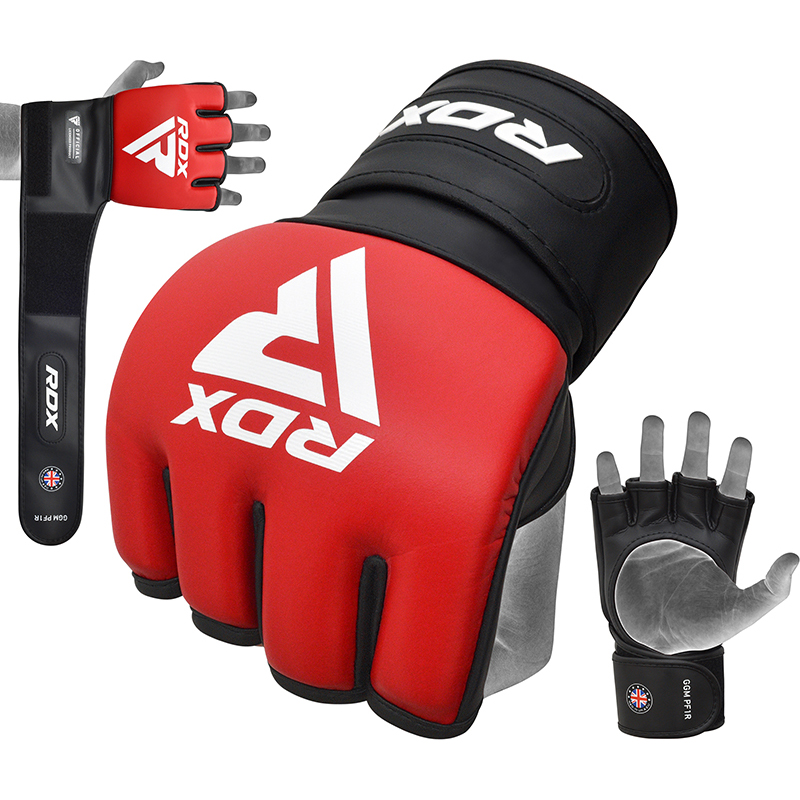 RDX PF1 Red Cage Fighting Open Palm Padded MMA And Grappling Gloves With Long Wrist Strap PU Leather Small