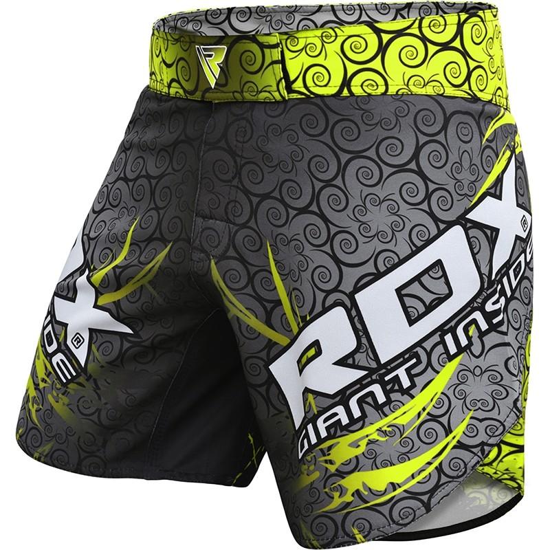 RDX R11 MMA Training Shorts Polyester Small Green/Grey/Black