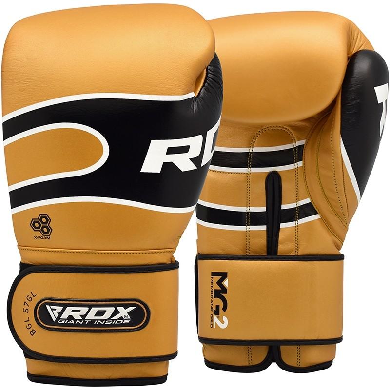 RDX S7 Sparring Boxhandschuhe Leder Haken Und Schleife 12 Unzen Gold/Schwarz