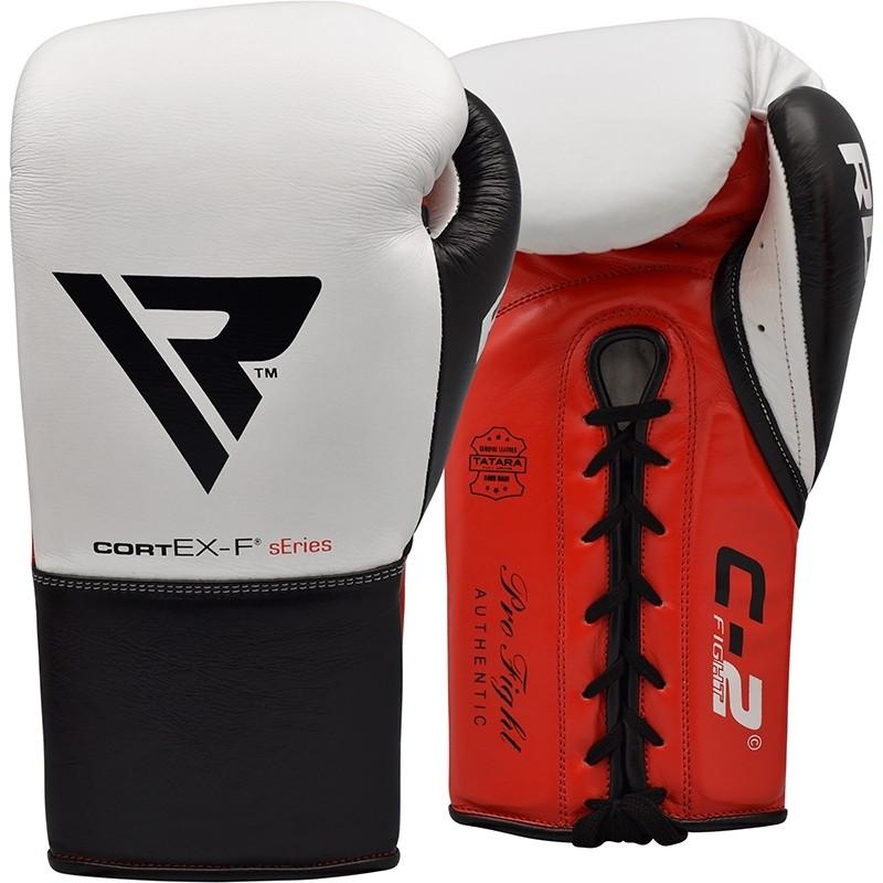 RDX C2 8oz White Leather Fight Boxing Gloves
