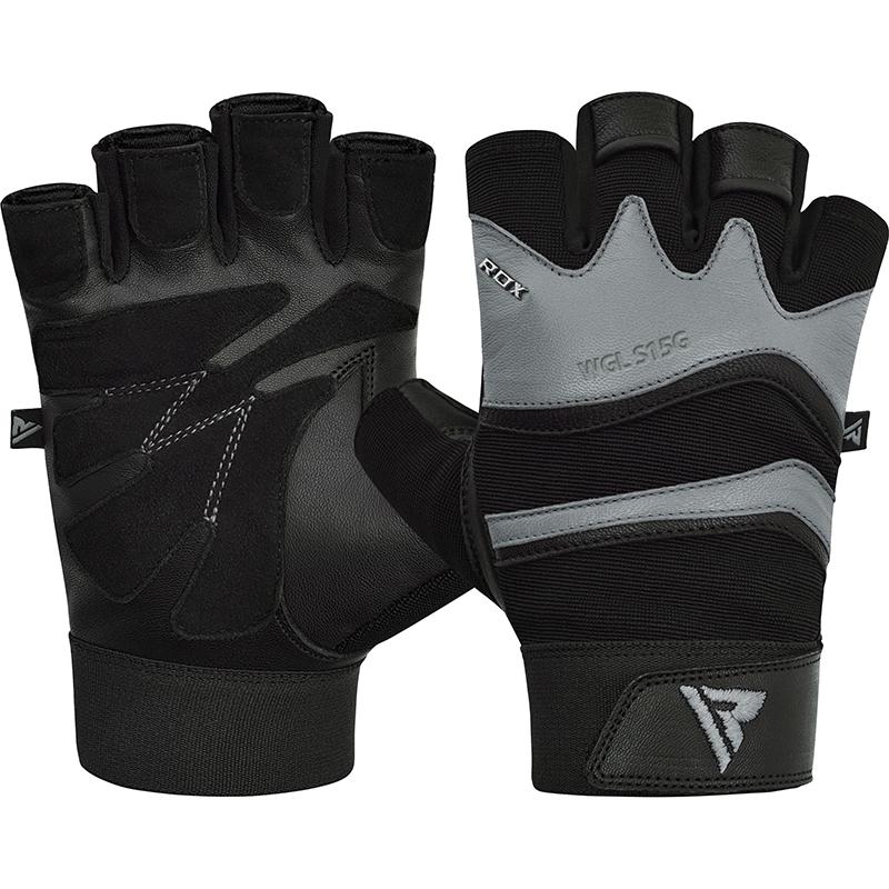 RDX S15 2XLarge Grey Leather Fitness Gym Gloves