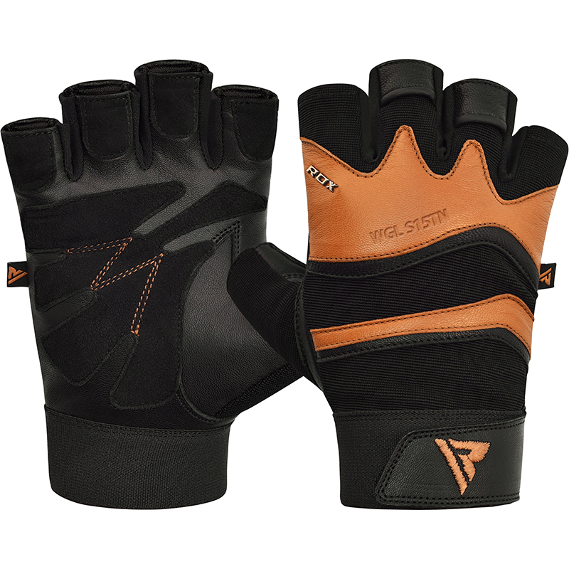 RDX S15 Large Tan Leather Fitness Gym Gloves