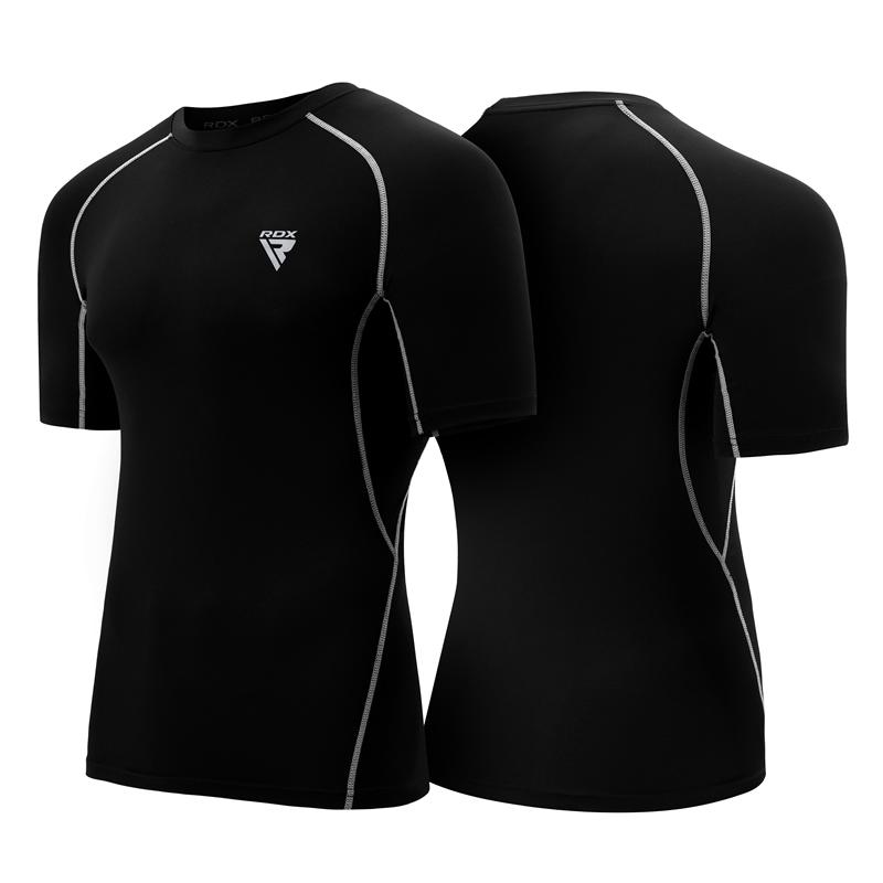 RDX X5 2XL Black Base Layer Compression Half Sleeves Rash Guard Top Shirt For Boxing MMA Running BJJ Muay Thai Gym Power Weight Lifting For Men