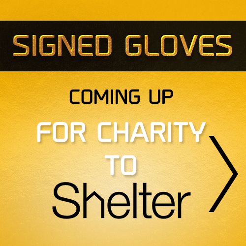 Auction of Signed Gloves for Shelter Charity based in Manchester, UK