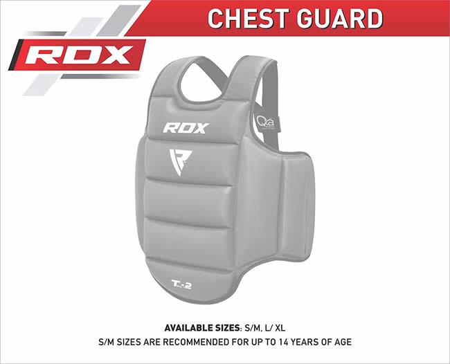 CE Certified Approved L-XL RDX Chest Guard Boxing MMA Martial Arts Maya Hide Rib Shield Armour Taekwondo Body Protector Training Black//White